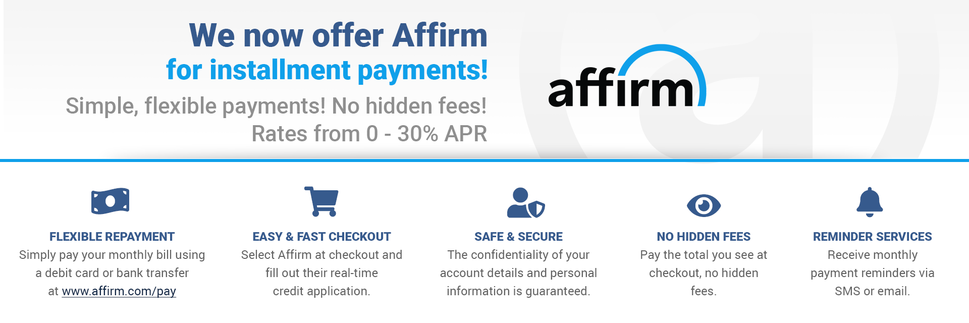 Pay with Affirm Monthly Payments