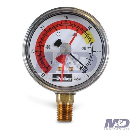 Parker Racor Bottom Mount Vacuum Gauge, -30 to 0 inHg