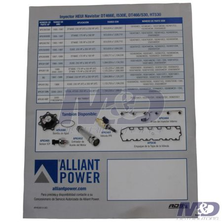 Alliant Power HEUI Injector Flier 2012-Revision (Spanish)