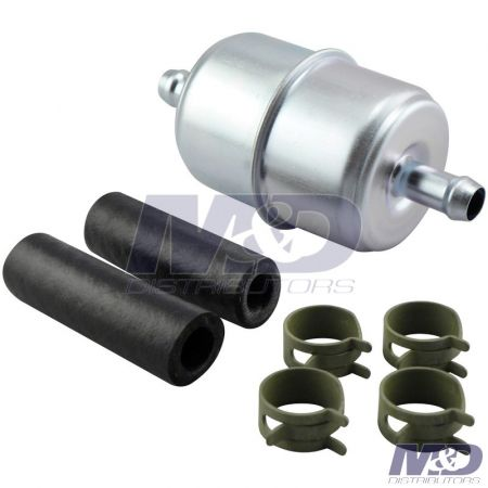"Baldwin FUEL FILTER IN LINE 3/8"" WITH CLAMPS AND HOSES"